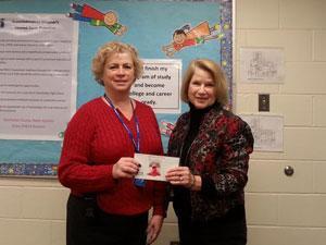 Nancy Thomas, Secretary WAF ( right) with Linda Wilson, Principal, Hurlock Elementary